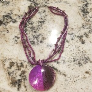 Bright purple beaded necklace